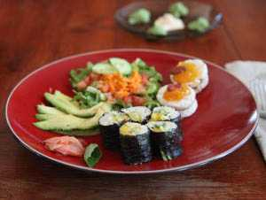 Vegetarian Sushi and Salad at Anamaya