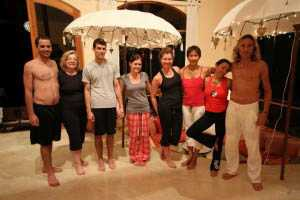 Enrico and Juliana with yoga group