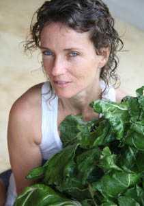 Dagmar and kale from La Candela's organic garden