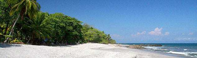One of Montezuma's beautiful white sand beaches, with warm water year round.