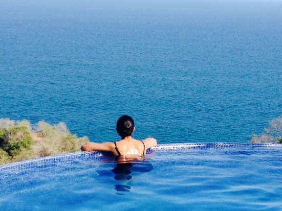 Bev in Anamaya's pool