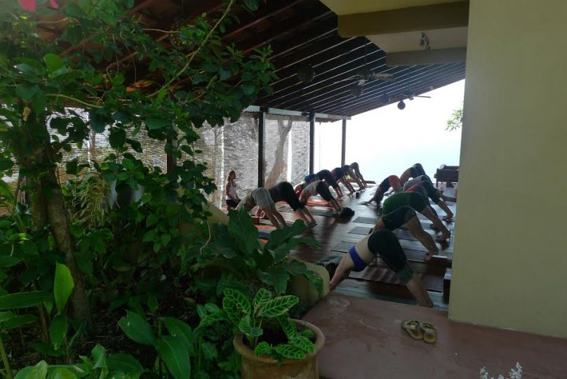 lucy teaching on upper Anamaya deck