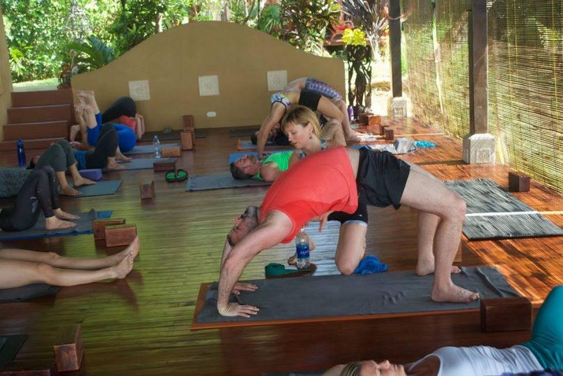 Elena Klymenko teaching yoga at Anamaya Resort