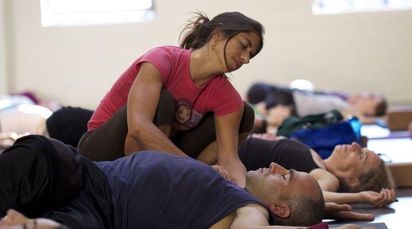 Cat Kabira teaching yoga