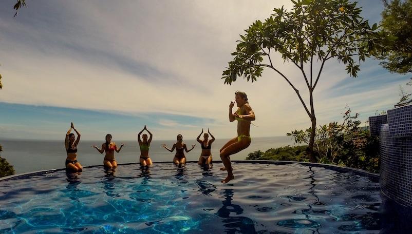 Jumping in the pool at Anamaya Resort