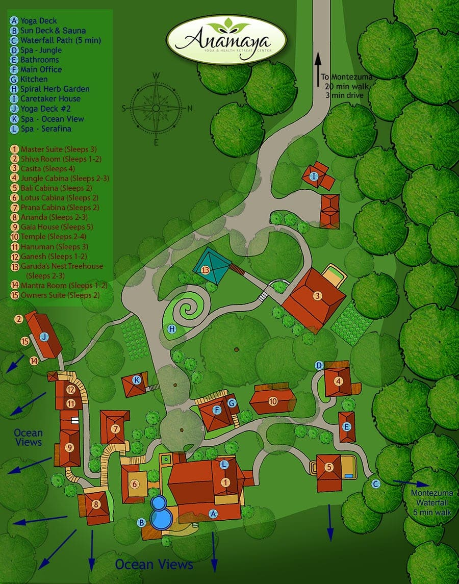 Luxury yoga retreat map
