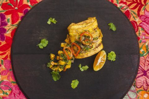 Plantain wrapped snapper
